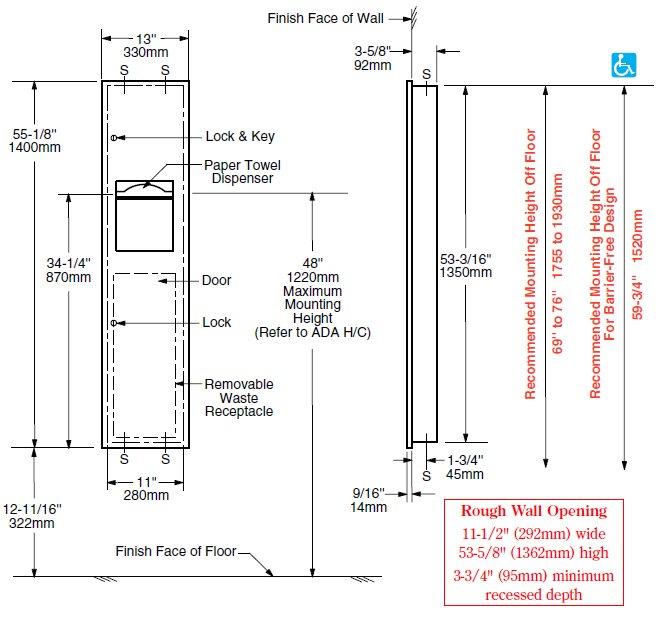 Bobrick B 38034 Paper Towel Dispenser Amp Waste Receptacle