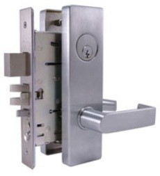 Design Hardware M-13 Mortise Lock Dormitory Function, Escutcheon Trim, Satin Brass