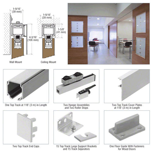 Crl Crl70w Single Sliding Door Wall Or Ceiling Mount Kit