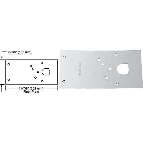 CRL 284720LHPC Rixson 28 Series Center-Hung LH Door Closer Cover Plate, Polished Chrome