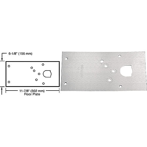 CRL 284720LHSC Rixson 28 Series Center-Hung LH Door Closer Cover Plate, Satin Chrome