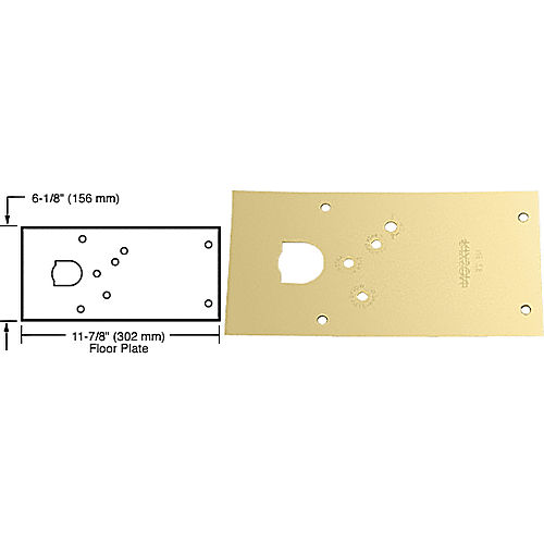 CRL 284720RHPB Rixson 28 Series Center-Hung RH Door Closer Cover Plate, Polished Brass