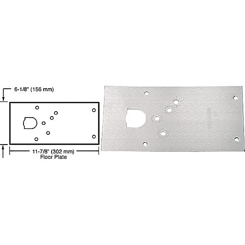 CRL 284720RHSC Rixson 28 Series Center-Hung RH Door Closer Cover Plate, Satin Chrome