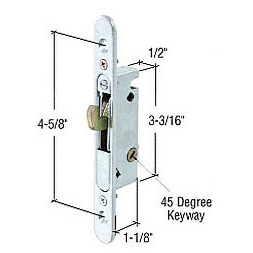 CRL E2164 Round End Face Plate Mortise Lock with 45 Degree Keyway