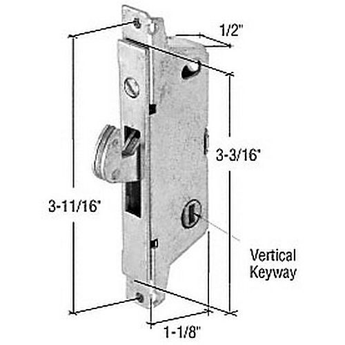 CRL E2184 Square End Face Plate Mortise Lock with 3-11/16