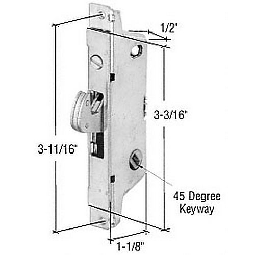 CRL E2186 Square End Face Plate Mortise Lock with 3-11/16