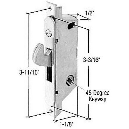 CRL E2187 Round End Face Plate Mortise Lock with 3-11/16