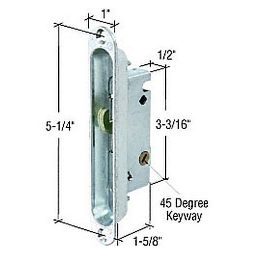 CRL E2189 Wide Mortise Lock and Plate with 45 Degree Keyway