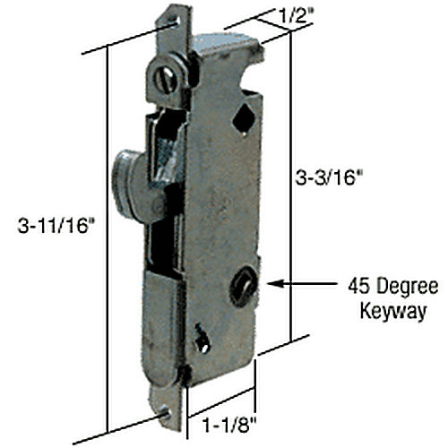 CRL E2199 Round End Face Plate Mortise Lock with 45 Degree Keyway for W&F Doors