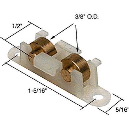CRL G3091 Brass Dual Sliding Window Roller for House of Windows