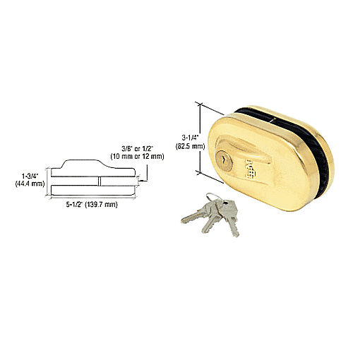 CRL 1NT685BR Glass Mounted Slip-on Patch Lock, Brass