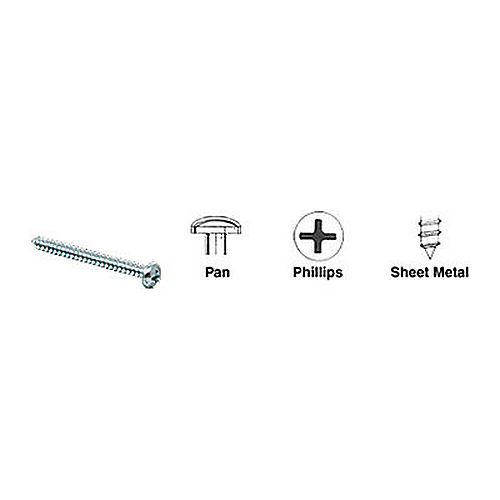 CRL 10X2PHPSMS Pan Head Phillips Sheet Metal Screws