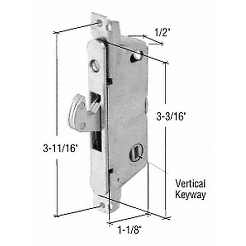 CRL E2009 Round End Face Plate Mortise Lock for Adams Rite Doors- Vertical Keyway