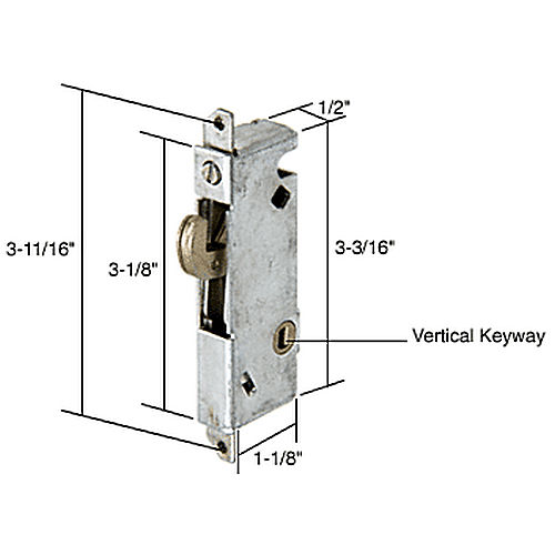 CRL E2012 Square End Face Plate Mortise Lock 3-11/16