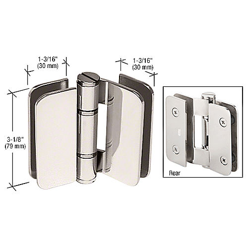 CRL ZUR01PN Zurich 01 180 Degrees Glass-to-Glass Outswing or Inswing Bi-Fold Hinge