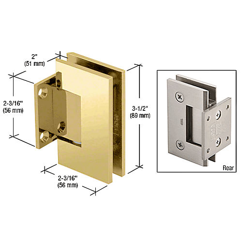 CRL GEN074BR Brass Geneva 74 Series Wall Mount Short Back Plate Hinge
