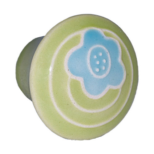 Acorn PR9YP Small Round Knob Light Green w/Blue Flower