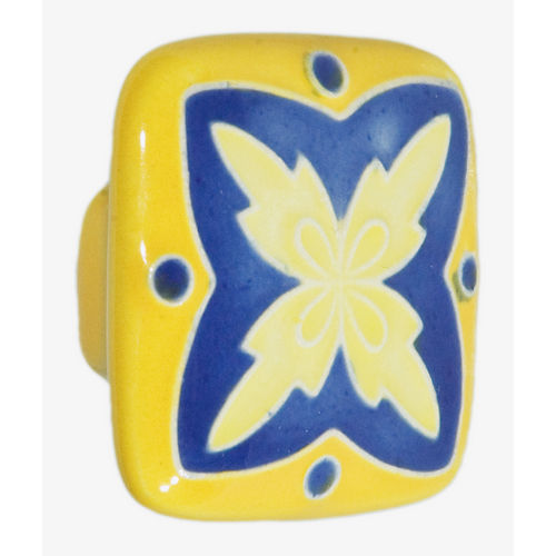 Acorn PS8YP Large Square Knob Yellow & Blue