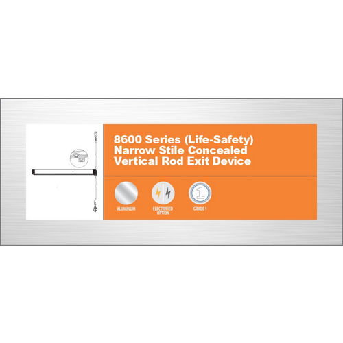 Adams Rite 8600-36-US32D-PB CVR Exit Device Push Bar Only, Satin Stainless Steel
