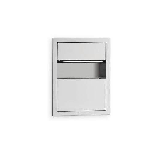 AJW U618-S2 C-fold/Multifold Towel Dispenser & Waste Receptacle Combination, Semi-Recessed