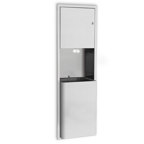 AJW U659CP-S2 Center-Pull Towel Dispenser & Waste Receptacle, Semi-Recessed