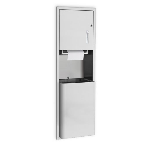AJW U660AW-S4 Lever Operated Roll Towel Dispenser & Waste Receptacle, Semi-Recessed
