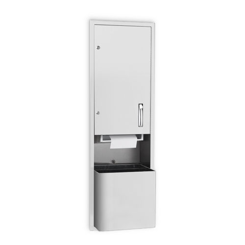 AJW U661AW-S4 Lever Operated Roll Towel Dispenser & Waste Receptacle, Semi-Recessed