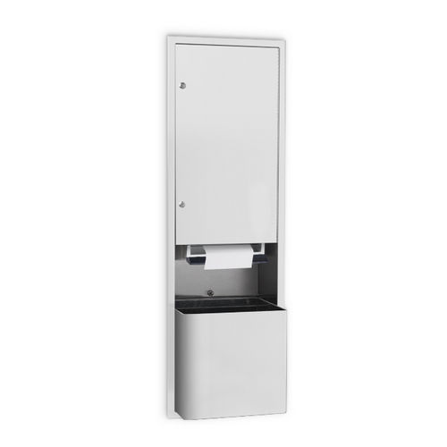 AJW U661FL-S6 Full Width Lever Roll Towel Dispenser & Waste Receptacle Semi-Recessed