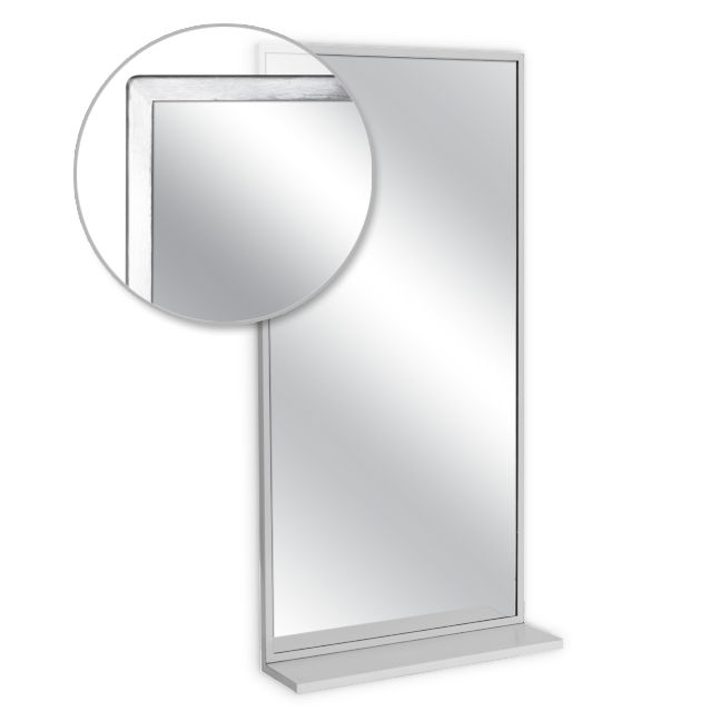 Ajw u705 1824 angle frame mirror with mounted shelf plate for Mirror 18 x 24