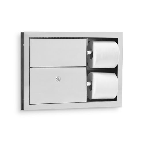 AJW U863 Dual Stall Toilet Tissue Dispenser & Sanitary Napkin Disposal, Partition Mounted