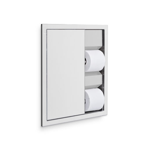 AJW U864A-S2 Dual Toilet Tissue Dispenser, Semi-Recessed