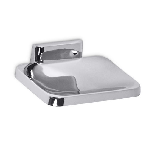 AJW UC22 Bright Zamac Soap Dish with Drainage Holes, Surface Mounted