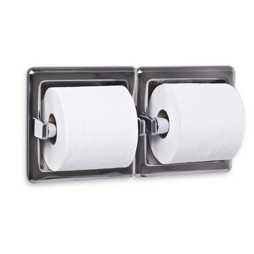 AJW UX75-BF Dual Bright Toilet Tissue Dispenser, Recessed