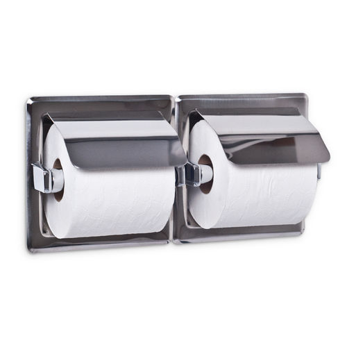 AJW UX76-BF Dual Bright Hooded Toilet Tissue Dispenser, Recessed