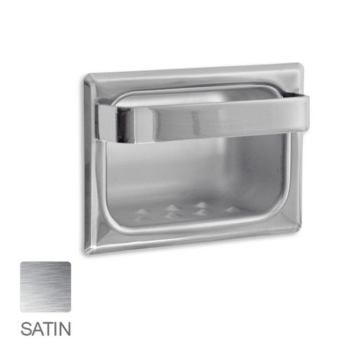 AJW UX81-SF Satin Soap Dish with Wash Cloth Bar, Recessed