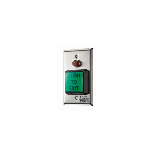 Alarm Controls TS-3T Push Button Single Gang Stainless Steel Request To Exit Green  1/2