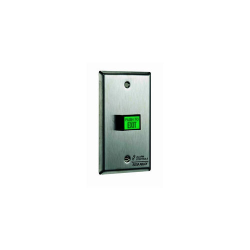 Alarm Controls TS7 Push Button Single Gange Green Square Push to Exit Button Satin Stainless Steel