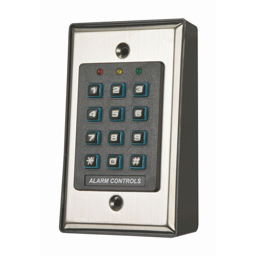 Alarm Controls KP100 Surface or Recess Mount Self-Contained Digital Keypad, Satin Stainless Steel