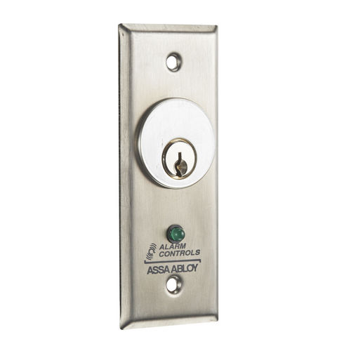 Alarm Controls MCK-2-2 Key Switch Narrow Stainless Steel Plate with SPDT Alternate Action Sw Green LED