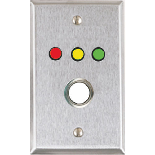 Alarm Controls RP-35 Push Button Remote Plate, Single Gang Stainless Steel with Green Red and Yellow