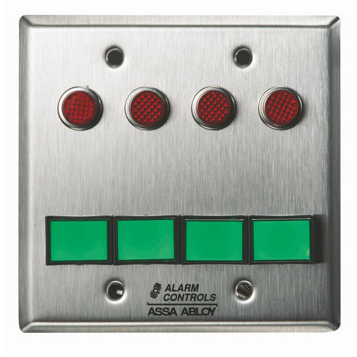 Alarm Controls SLP-4M Monitoring/Control Station  Double Gang Stainless Steel 4Ea Dsw-3 III Gn 12V 4Ea 1/2