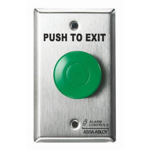 Alarm Controls TS14 Push Button Single Gang Green Mushroom Push to Exit Button Satin Stainless Steel
