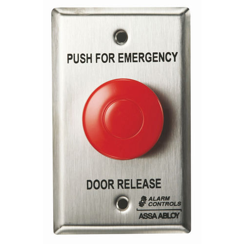 Alarm Controls TS-32 Push Button Emergency Door Release Stainless Steel Single Gang 1.5 Red Latch 1No/Nc