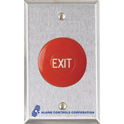 Alarm Controls TS-36 Push Button Request To Exit 1.5 Red Engraved Mushroom 1No 1Nc