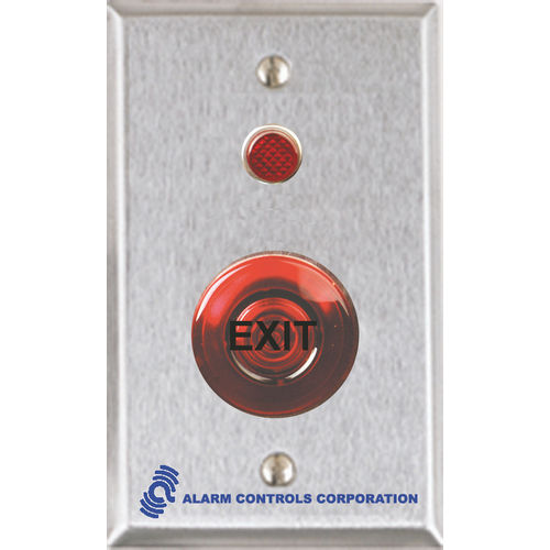 Alarm Controls TS-55R Push Button Single Gang Stainless Steel 1.5 Red Momentary III Mushroom 1Nc 1No 1/2