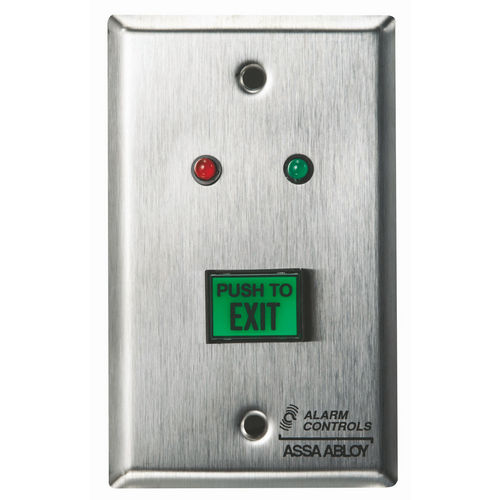 Alarm Controls TS-6 Push Button Request To Exit Green   Red and Green LEDs UL Listed