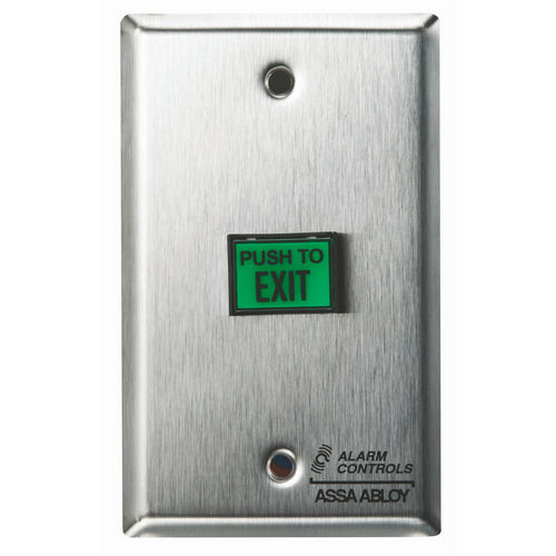 Alarm Controls TS-7L Push Button Latching Request To Exit DPDT Illuminated Green