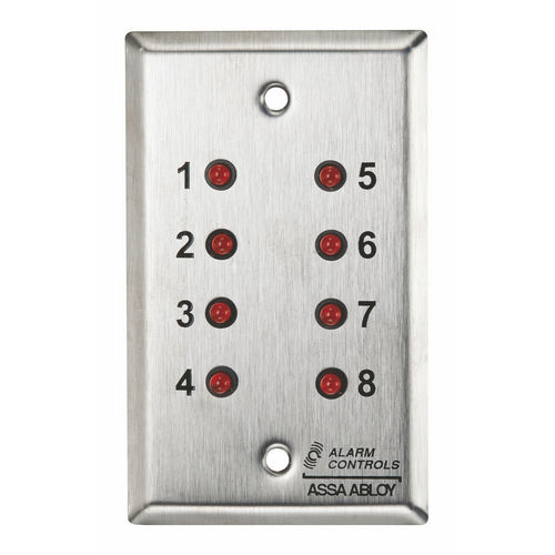 Alarm Controls ZP-8 Push Button Single Gang Stainless Steel 8 Red LED Screen