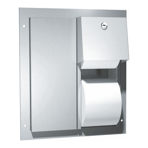 ASI 0032 Toilet Tissue Dispenser, Twin Hide-A-Roll, Partition Mount