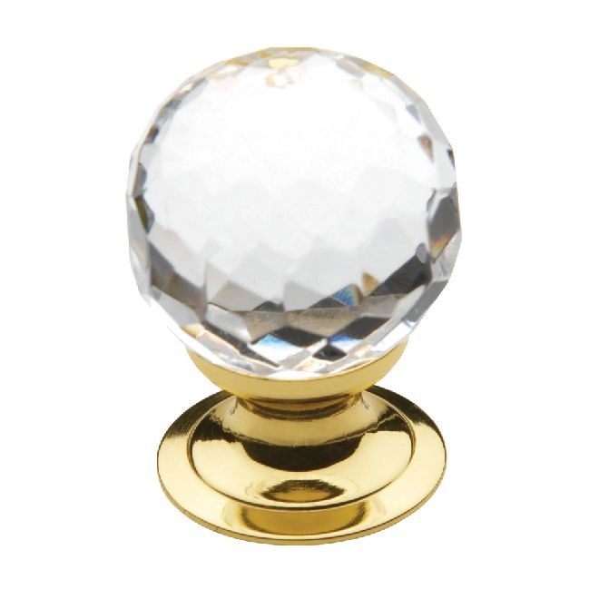 """Baldwin Kitchen Cabinet Hardware: Baldwin 4318 Cabinet Knob 1.19"""" Crystal, Polished Brass"""